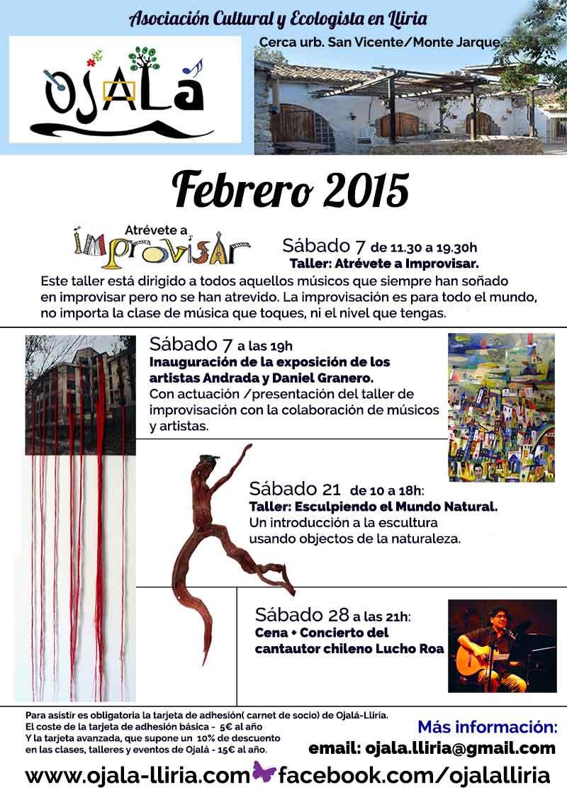 Calendario Febrero 2015 Centro Cultural y Ecologista Ojalá-Lliria