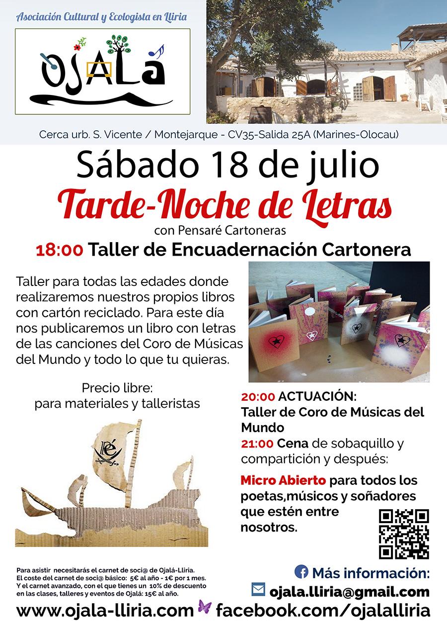 Micro Abierto noche letra en Centro Cultural y Ojalá Llíria.