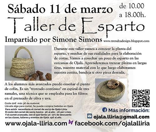 taller de Esparto 11 de marzo 2017 Lliria Ojalá Valencia